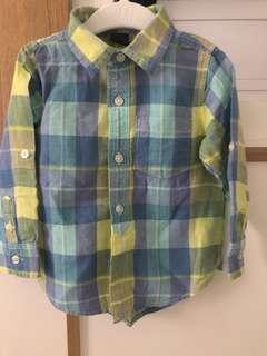 GAP shirt kotak green/blue