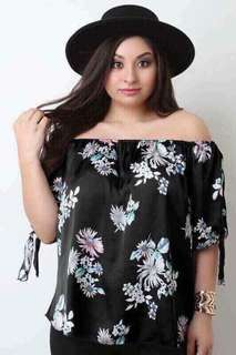 Plus Size Off Shoulder Floral Dress