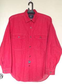 VERSACE denim button down red polo