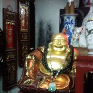 Antiques Wood Carving with Gold Gilt Sitting Laughing Buddha with Wood Base Attachment.