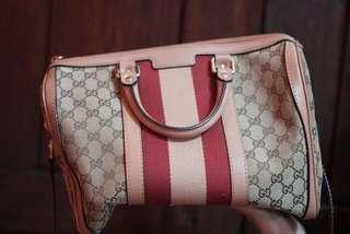 Gucci Boston Vintage Web Stripe Pink Rose
