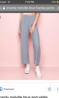 Brandy Melville Blue Striped Frankie Pants