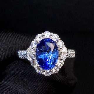 18K白金 斯里蘭卡無燒藍寶石鑽石戒指