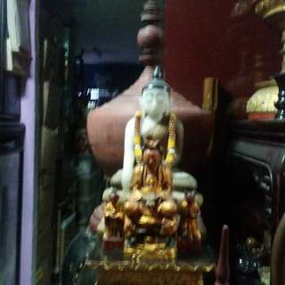 Antiques Burma Wood Laquer Altar + Marble  Buddha Statue and China Qing Wood Godness of Mercy Statue.