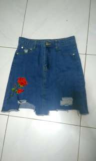 Tattered Denim Skirt with Patch