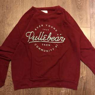 pull and bear red maroon sweater pullover