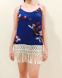 Floral Top with Lace Fringes