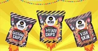 Irivins 辣味咸蛋薯片,魚皮,木薯片spicy salted egg fish skin potato chip