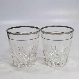 懷舊  70 80年代 銀色邊玻璃水杯2只