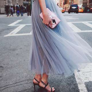 BN Korean Long Tulle Midi Skirt Grey for Bridesmaid or Outdoors PWS