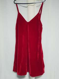 Lower back velvet red dress