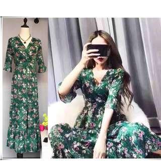 🚚 綠色雪紡碎花v領短袖荷葉連身洋裝/連身裙