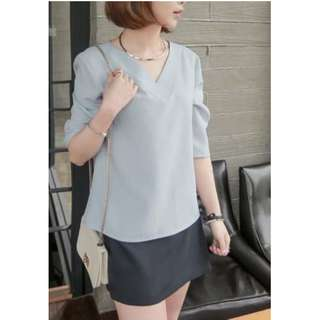 Korean Style V-neck Chiffon Blouse Pullover Office Blouses Ladies Work Shirts