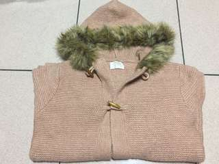 🚚 Zara女童牛角扣粉色毛衣連帽外套