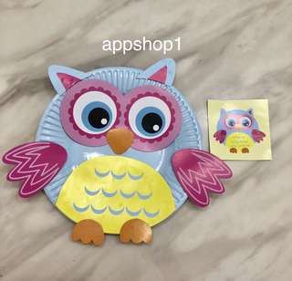 Owl paper plate art and craft games - children party goodies bag, preschool goody bag gift, party games