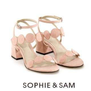 Sophie&Sam低跟馬卡龍粉色涼鞋 36