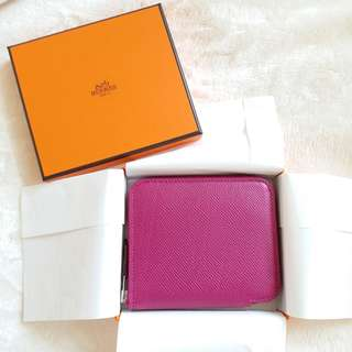 HERMES Short Silk in Wallet 桃紫色短絲巾銀包
