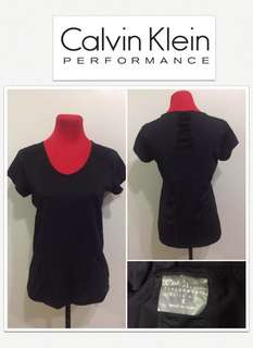 Calvin Klein Performance Quick Dry Black Logo Sheer Back Shirt
