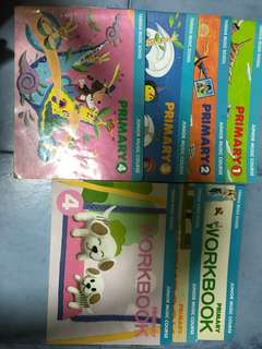 Yamaha Junior Music Course JMC Primary 1 -4 textbooks and 1,2, 4 workbook