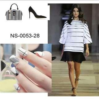 Shiny Black False Nails Serrated Line Patterns Acrylic Fake Nail DIY Salon Product Manicure Tools 24Pcs Z097