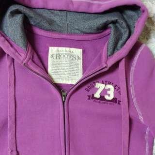 🚚 ROOTS 紫紅色 XS 緊身外套
