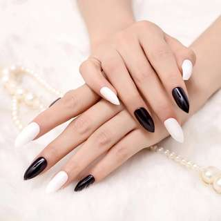 Point White Press On Nail Black Shiny Grace Style Fake Nails Manicure Accessories 24pcs Z056