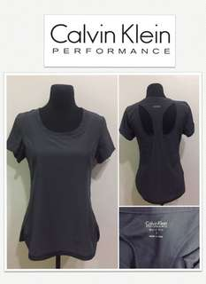 Calvin Klein Performance Quick Dry Gray Open Back Shirt