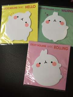 BNIB Molang Post It notepad (Free mailing!)