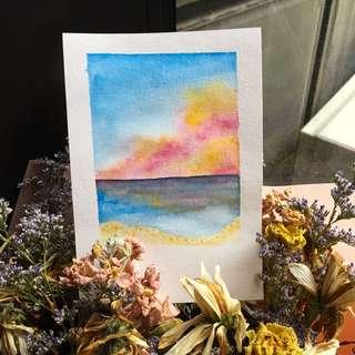 Polaroid watercolour painting