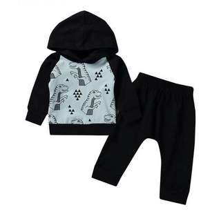 Cool Dinosaur Print Hooded Top and Black Pants for BabyBoy