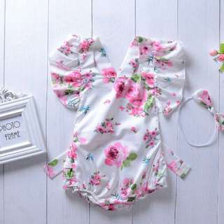 Sweet Floral Ruffled Backless Bodysuit and Headband Set for Baby Girl