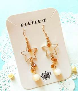 自家品牌設計手作飾物(星空篇)*黄水晶,天然石,星星耳環