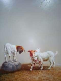 油画三羊开泰。60x90cm原创
