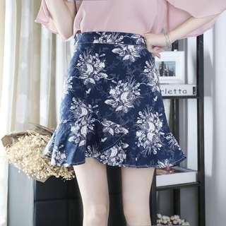 韓國顯瘦返工斯文a字裙短裙floral skirt