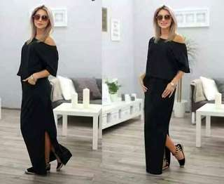 Plain Maxi Dress w/ Slit