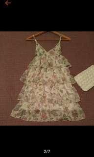 🚚 日本 MOUTH Valley 俏麗 甜美 多層 細肩帶 蛋糕洋裝 連衣裙 近全新