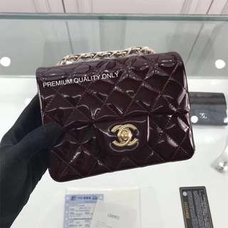 Chanel mini square patent leather- maroon