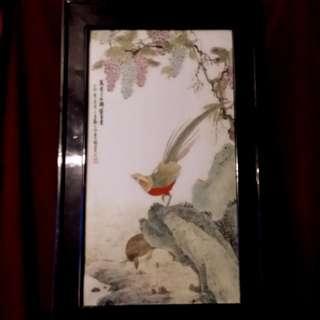 古彩绘金鸡  - 万紫千红,锦绣富贵 (由名画家刘文明画于珠山)
