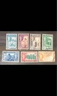 Malaya Sarawak king George stamps 7v used
