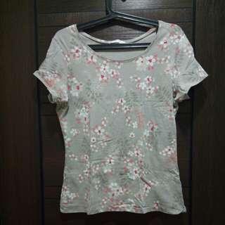 [Marks and Spencer] Olive Green Floral T Shirt