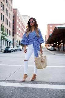 Blue Gingham Wrap Ruffles Top