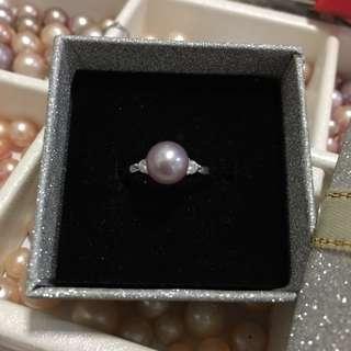 天然淡水珍珠s925純銀簡約活口戒指
