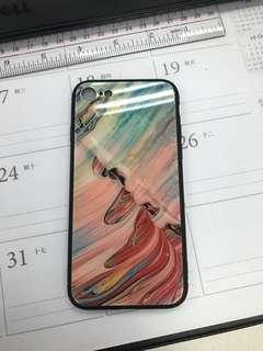 iPhone 7 型格油彩波浪黑邊玻璃手機套