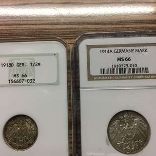 Germany WW1 BU 1/2 & 1 Mark silver coins