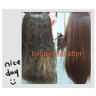 Home service for Rebonding and colour for long hair $188 medium length $158 shoulder length $138