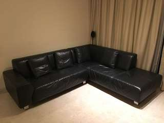 L-shaped leather sofa and cushions for sale! (XZQT brand)
