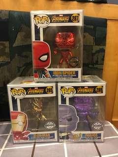 Marvel Chrome Funko (Iron Spider, Ironman & Thanos)