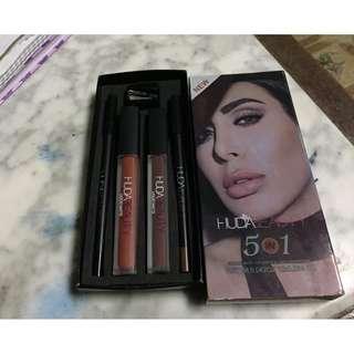 HUDA BEAUTY 5 in 1  2 liquid matte  1 lipliner  1 eyeliner  1 sharpener