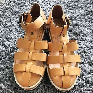 Tan Faux Leather Chunky Sandals