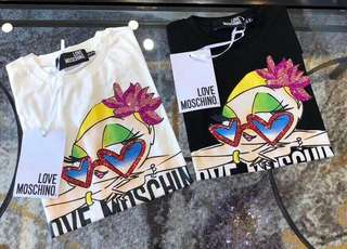 Love Moschino 18ss女款印花心形亮片短袖T恤裙,36,38,40碼,兩色 $1790 保證100%全新原裝正版